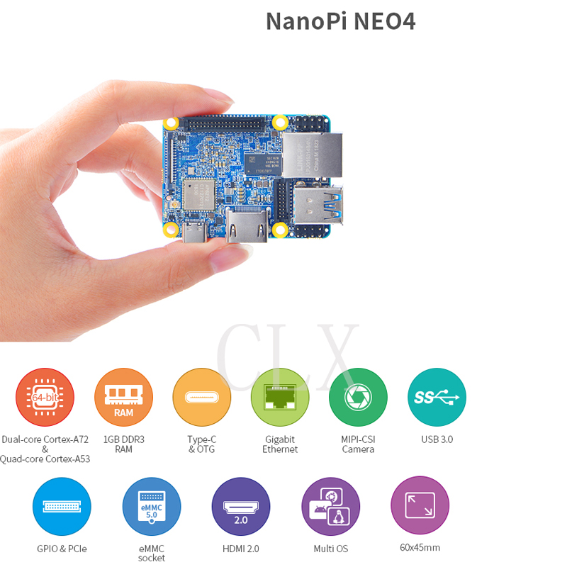 NanoPi NEO4 1GB DDR3 Rockchip RK3399 an onboard Wi Fi BTmodule supports Android Ubuntu Desktop CORE
