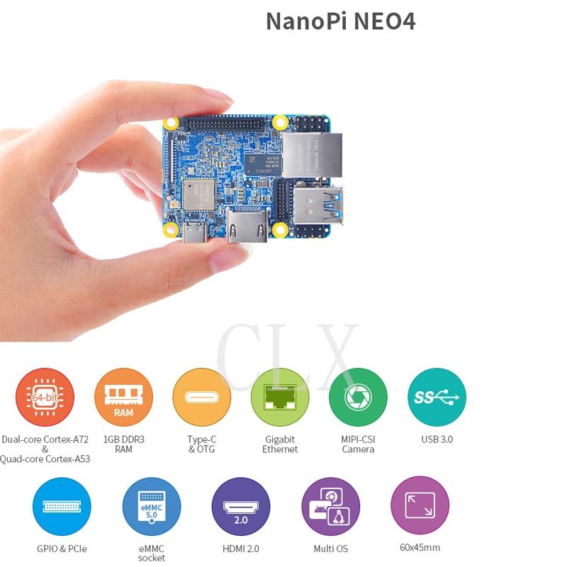 NanoPi NEO4 1GB DDR3 Rockchip RK3399 An Onboard Wi-Fi/BTmodule Supports Android Ubuntu Desktop/CORE/Lubuntu