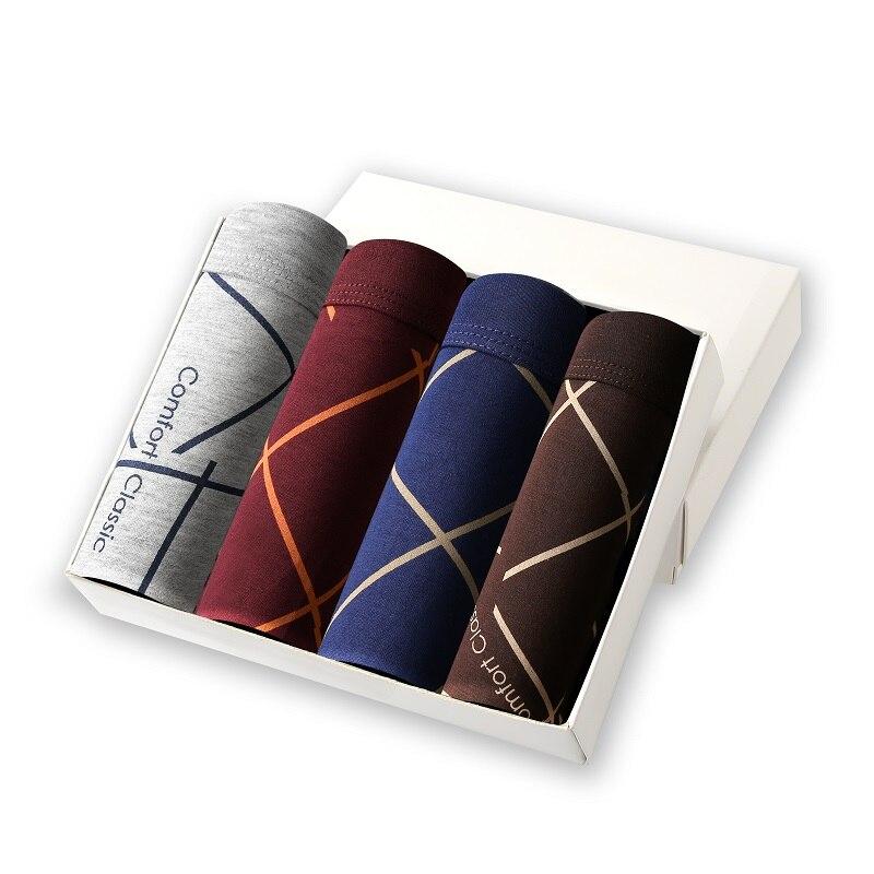 2019 Fashion Sexy Underwear Men Brand Bamboo Fiber 4Pcs/lot Men Boxer Shorts Soft Underpants Comfortable Breathable Male Panties