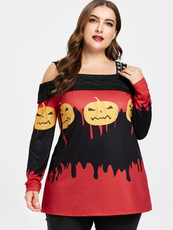 8203a3c5bba ... платья Chiffon галстук плюс Размер женские Женщинам повседневное размер  Лидер. Купить 5XL плюс Размеры Хэллоуин с открытыми плечами футболка Для  женщин ...