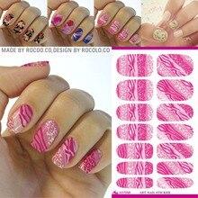 Rocooart K5705B Water Transfer Nail Art Sticker Pink Leopard Glitter Manicure Decal Minx Nail Decor Tool Nails Foil Sticker