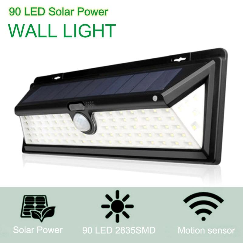 1pc 90 LED Solar Power PIR Motion Sensor Outdoor Wall Light Yard Path Garden Lamp ALI88