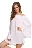 Women S Sexy Off Shoulder Chiffon Boho Solid Ruffle Sleeve Blouse Mini Dress Medieval White Peasant