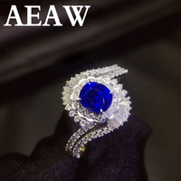 Genuine 1ct AAA Natural Sapphire Ring 0.7ctw Real Diamond 14Kt White Gold Simple Design for Girl Birthday Wholesale Jewelry