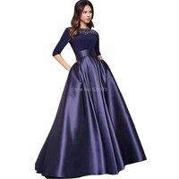 YNQNFS MD109 элегантные осенне зимние 3/4 рукава Длинные Матери невесты/жениха платья платье наряды темно синий 2019
