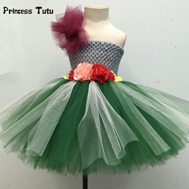 Gray&Green Flower Tutu Dress Tulle Girl Party Dress Birthday Princess Dress Kids Wedding Pageant Ball Gowns For Girls Costumes lovely rainbow tutu dress girls kids flower girl dresses tulle princess dress costumes children party birthday wedding gowns