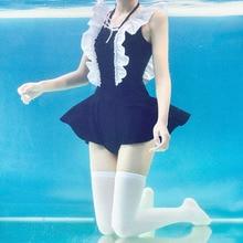 Сиамская Юбка Тип купальник Японский милый sukumizu черный купальник