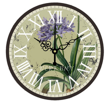 14 Inch European Style 3D Digital Large Wall Clock Vintage Garden Purple Orchid Flower Wall Clock Home Decor for Living Room