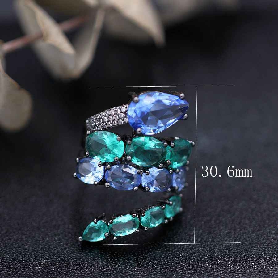 Classic Luxury Ring For Women Colorful AAA Cubic Zircon Green Blue Stones Glass Crystal Snake Finger Rings Fashion Party Jewelry
