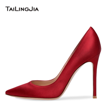 цена Latest Pointed Toe Red Satin High Heels Women Black Court Shoes Heeled Nude Basic Pumps Ladies Pink Dress Shoes Large Size 2019 онлайн в 2017 году