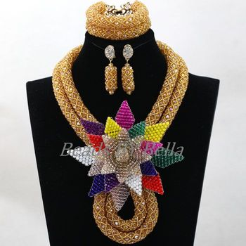 African Jewelry Sets Dubai Bridal Jewelry Set Nigerian Wedding Indian Bridal Necklace Bracelet Earrings Set Free Shipping ABL082