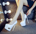 White black sexy high point with the pointed shoes Fine with the waterproof nightclub 16cm high heels