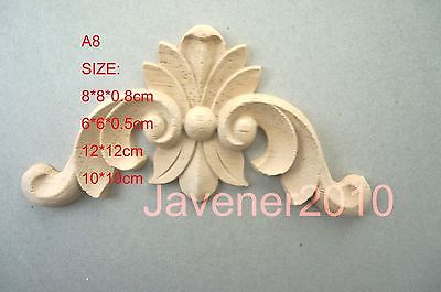 A8-10x10cm Wood Carved Corner Onlay Applique Unpainted Frame Door Decal Working Carpenter Flower