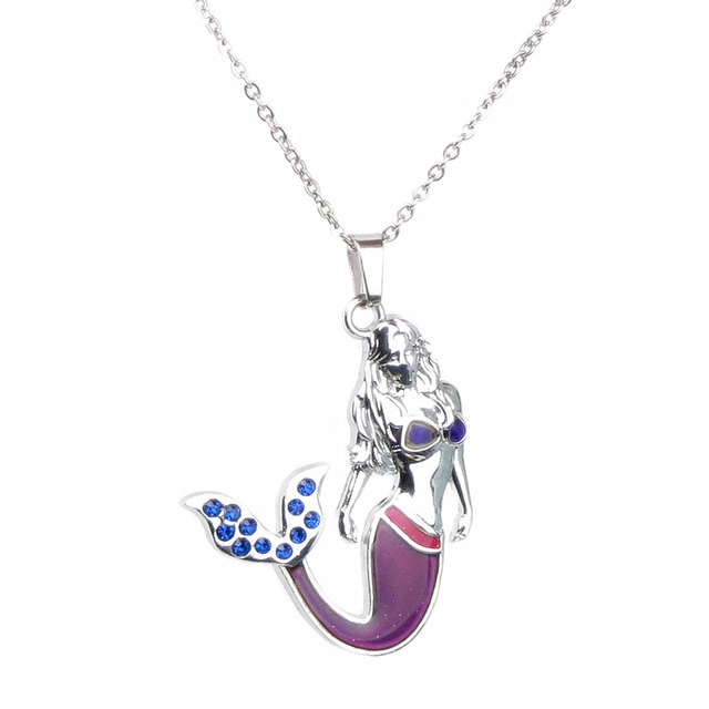 Aliexpress buy blue crystal mermaid mood necklace with color blue crystal mermaid mood necklace with color change pendant liquid thermo 2016 ee mozeypictures Image collections