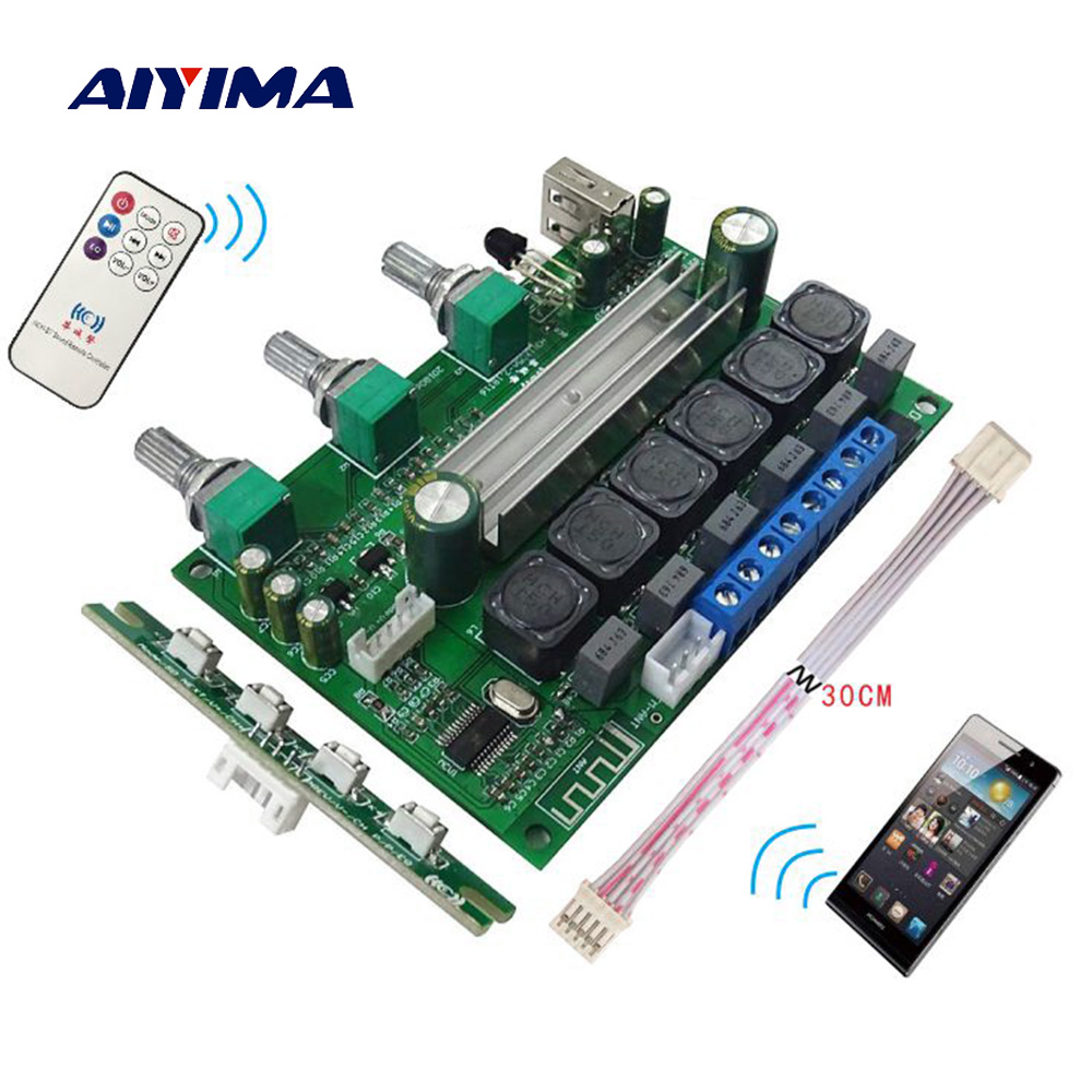 AIYIMA TPA3116 Bluetooth 4.2 Subwoofer Amplifier Audio Board 2X50W+100W 2.1 Channel Power Amp Sound Amplifier Support AUX U Disk