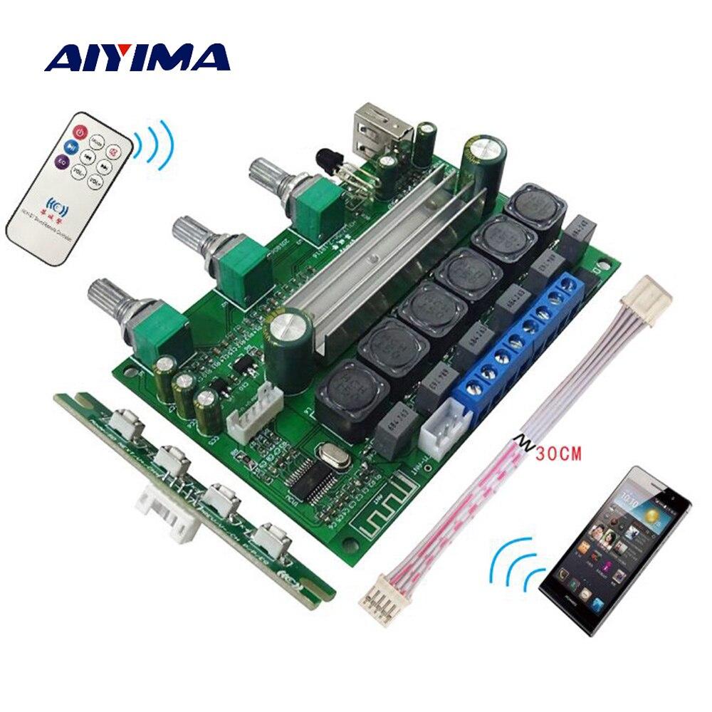 Aiyima TPA3116 Bluetooth 4.2 Subwoofer Bordo Amplificatore 2X50 w + 100 w HIFI 2.1 Digital Audio Amplificatore di Sostegno aux Senza Perdita di Disc di U