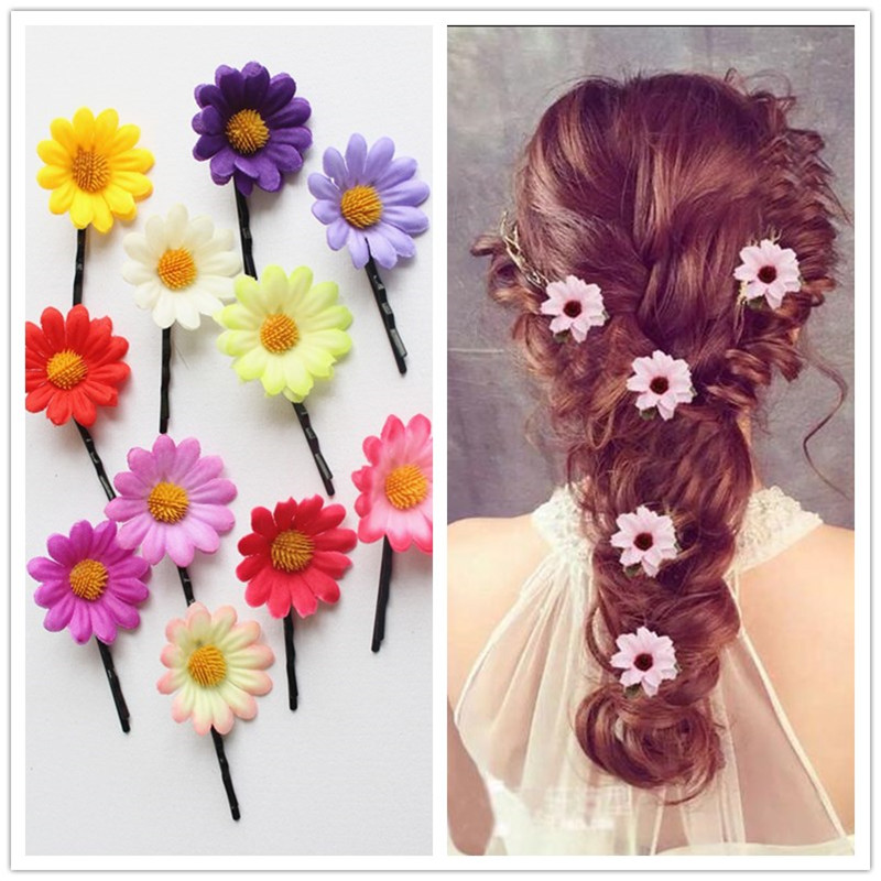 10 lovly Princess Kids Party Gifts Girls Cartoon Cute flowers Hair Clip hair accessories daisy Hair Clips hairpins   headwear   H-1