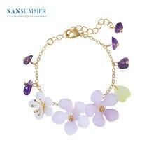 Sansummer 2019 New Hot Fashion Flower Purple Stone Romantic Feautiful Girl Bracelet For Women Party Resin Jewelry 5057