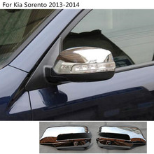 car styling decoration back rear view Rearview Side Door Mirror Cover stick trim frame molding 2pcs for Kia Sorento 2013 2014