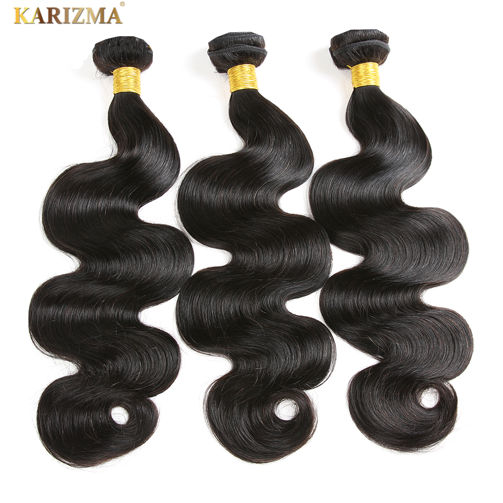 Karizma Body Wave 3 pcs/lot Brazilian Hair Weave Bundles Remy Human Hair Weave Natural Color Can Be Dyed Hair Extensions