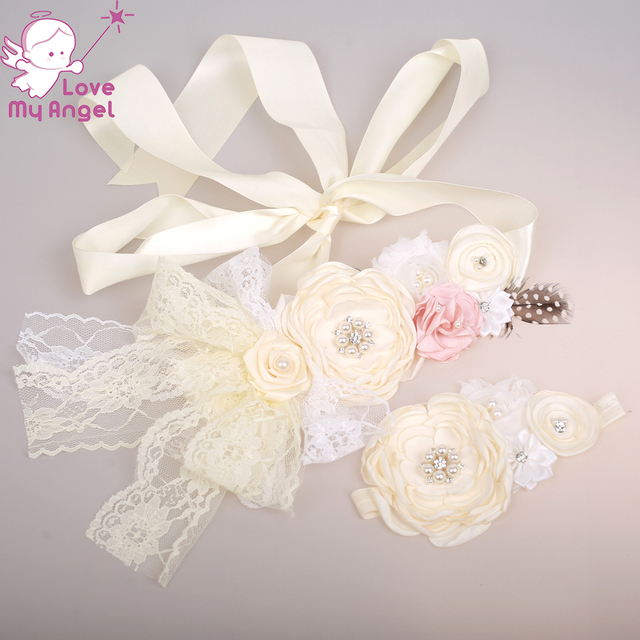 Ivory satin lace flower sash and headband set Newborn maternity accessories  floral sash belt baby shower sash dress sash 8set 09d83ecf0a8e