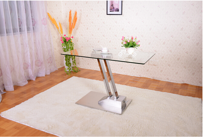 Dual lifting table, change table, sitting room multi-functional toughened glass stainless steel tea table toughened glass small tea table phone sofa the round table