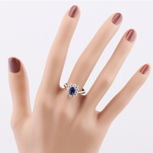 Blue Sapphire Ring Princess Kate White Gold Plated Wedding Crystal for Women