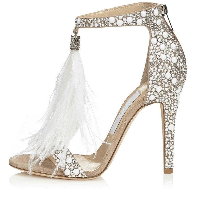 Bling bling bridal wedding shoes glitter rhinestone embellished feather tassel high heels sexy peep toe crystal sandals woman