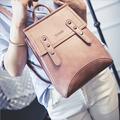 Mulheres mochilas moda 2016 new casual doce Coréia senhoras mochila PU sólidos Multi-função rebite ferrolho mochila de estudante, LB2007