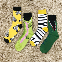 Los calcetines de los hombres de algodón de la serie del color de la moda calcetines frescos de alta calidad de la personalidad de Harajuku rayas de la cebra cocodrilo calcetines frescos