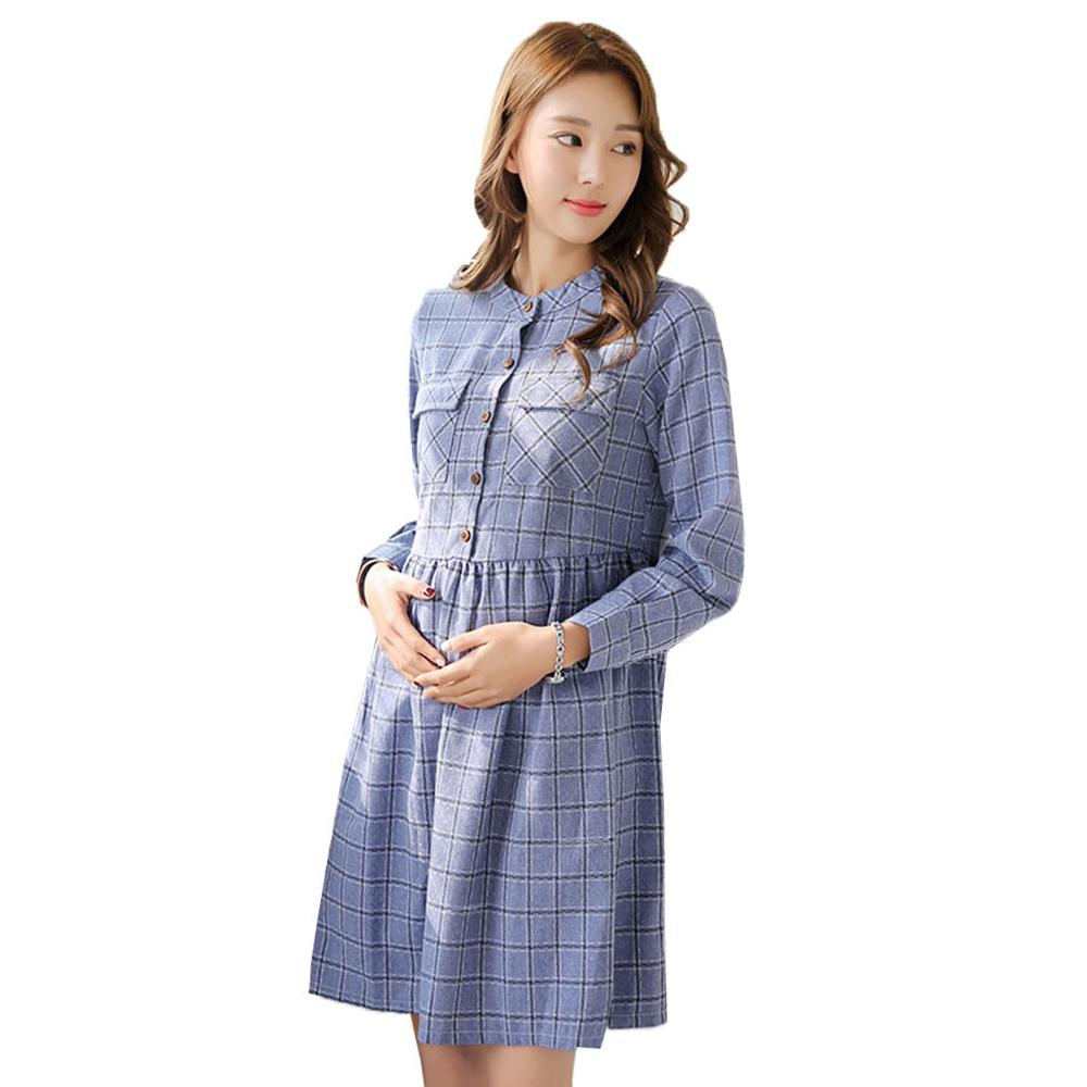 Long sleeve plaid maternity shirt dresses spring pregnancy clothes long sleeve plaid maternity shirt dresses spring pregnancy clothes casual o neck maternity clothing for pregnant women in dresses from mother kids on ombrellifo Image collections