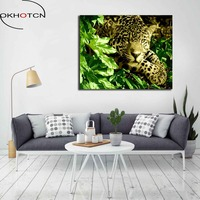 OKHOTCN DIY Oil Painting By Numbers Leopard Living Room Wall Pictures Coloring By Numbers Animal Canvas