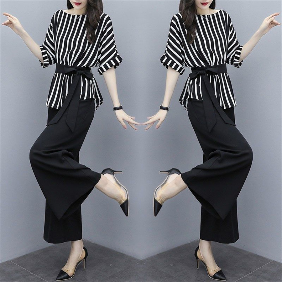 Women's Suit Women Tops High Waist Wide Leg Pants Two Sets Of Women 2019 Spring Summer New Loose Wild Clothes