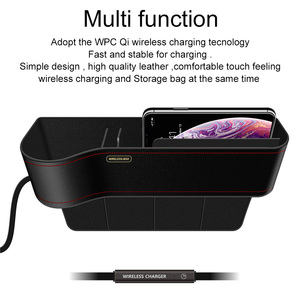 Image 3 - Ascromy Qi Wireless Charger Car Organizer Wireless Charging Station Storage Box Holder Car Seat Slit Gap For iPhone XS Max XR X