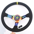 Free Shipping Sport OMP Steering Wheel Suede With Color Arm 350mm Diameter 14 inch Universal Racing Car Steering Wheel Deep Dish