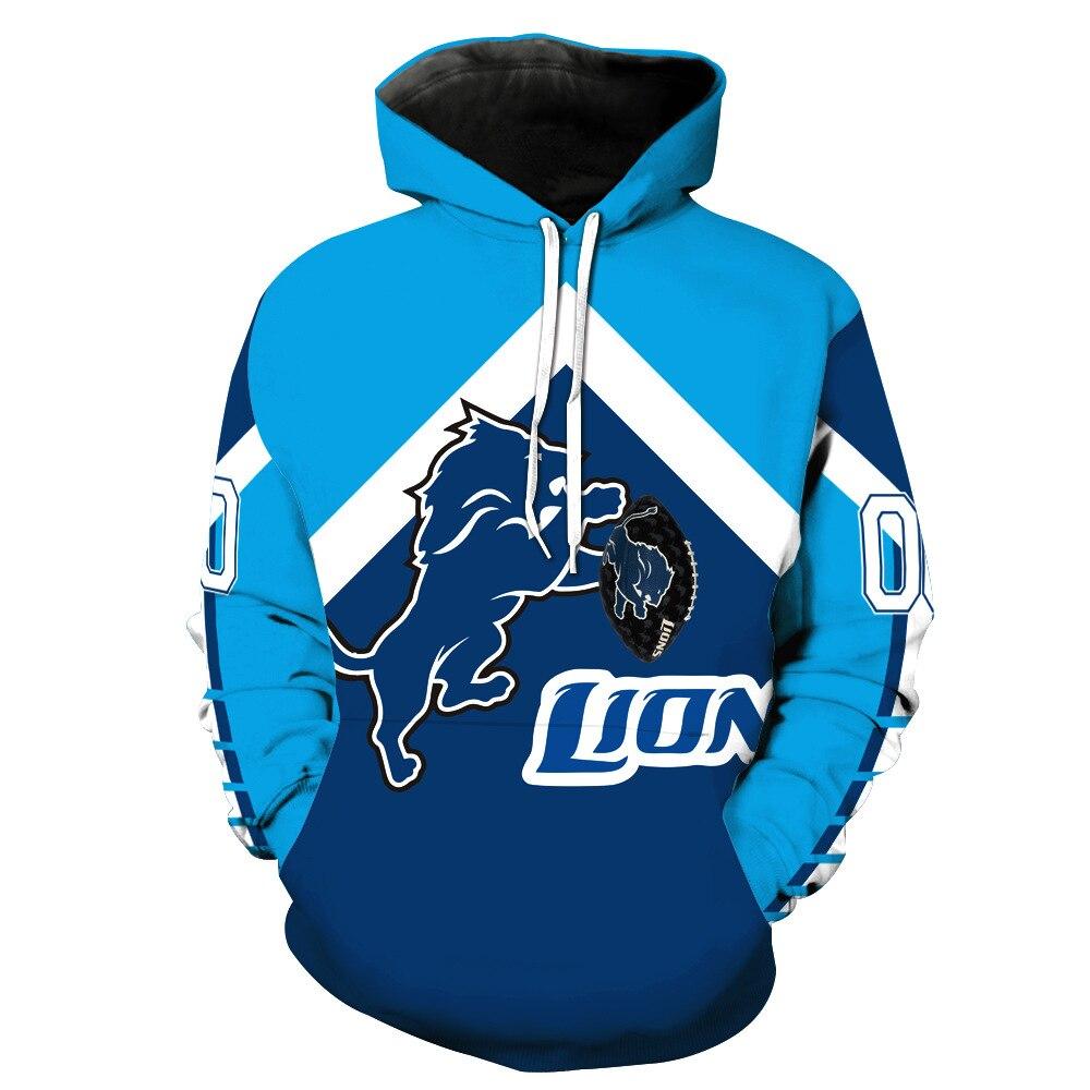 Новые Львы Толстовки 3D кофты Для мужчин Для женщин унисекс с капюшоном костюмы осень Зимний пуловер для Detroit подарок