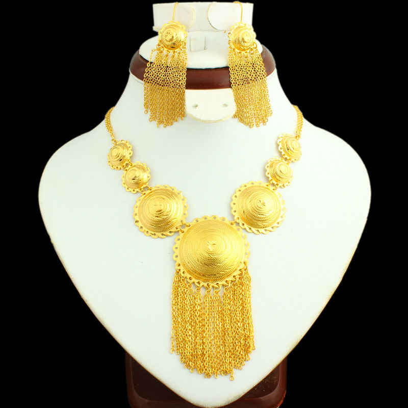 NEW Ethiopian Bridal Jewelry sets 24K Gold Color Necklace/Earring India/African/Dubai/Ethiopia/Nigeria/Arabic Women Gifts