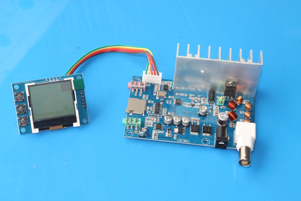Nouveau FM 5 W 76 M-108 MHZ stéréo PLL FM émetteur carte finie 7 W max puissance fréquence volume réglable avec moniteur LCD