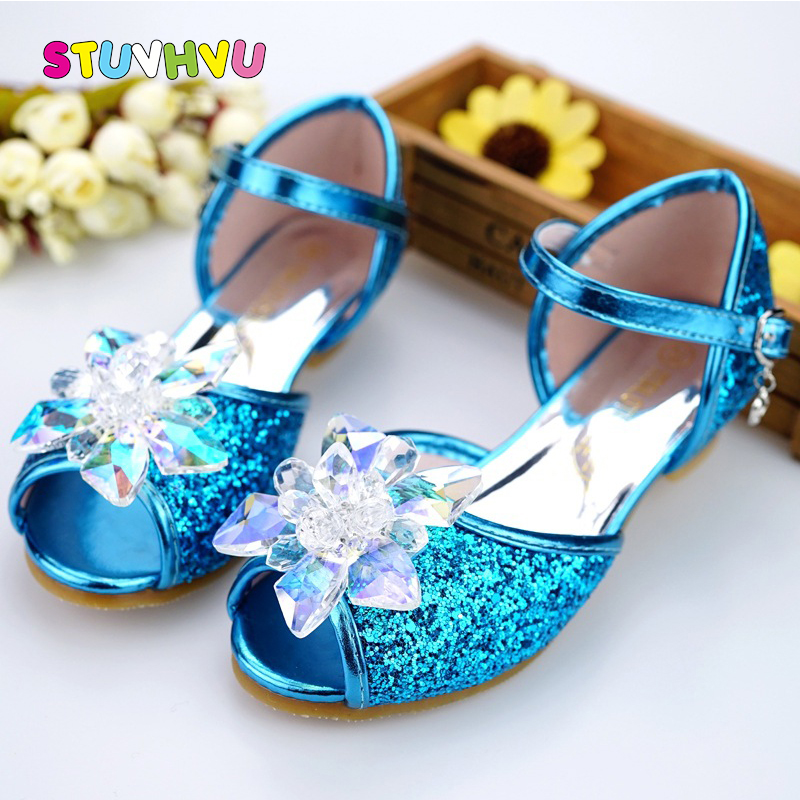 Children shoes girls high heel summer shoes for girls fashion blue crystal wedding sandals fish mouth princess shoes JHL502-1