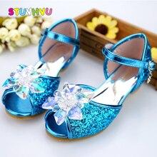 어린이 신발 여자 여자를위한 하이힐 여름 신발 패션 블루 크리스탈 웨딩 샌들 물고기 입 공주 신발 JHL502 1