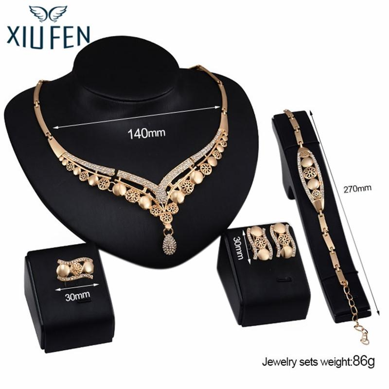 XIUFEN Luxurious Stylish Jewelry Set, Exaggerated Alloy Four-piece of Necklace Ear Studs Bracelet Ring for Party