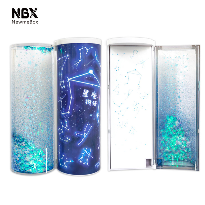 Image 3 - Quicksand Translucent Creative Multifunction Cylindrical ipen Pencil Box Case Stationery Pen Holder 2019 Newmebox Pink Blue StarPencil Cases   -