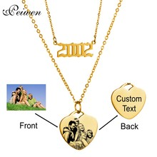Custom Year Number Necklace Engrave Name Photo Lettering Stainless Steel Chain Heart Pendant Choker 1980-2019 Birthday Gift
