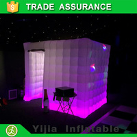 Hot seller square tent white led stripe portable digital photo booth for wedding, party, cosplay