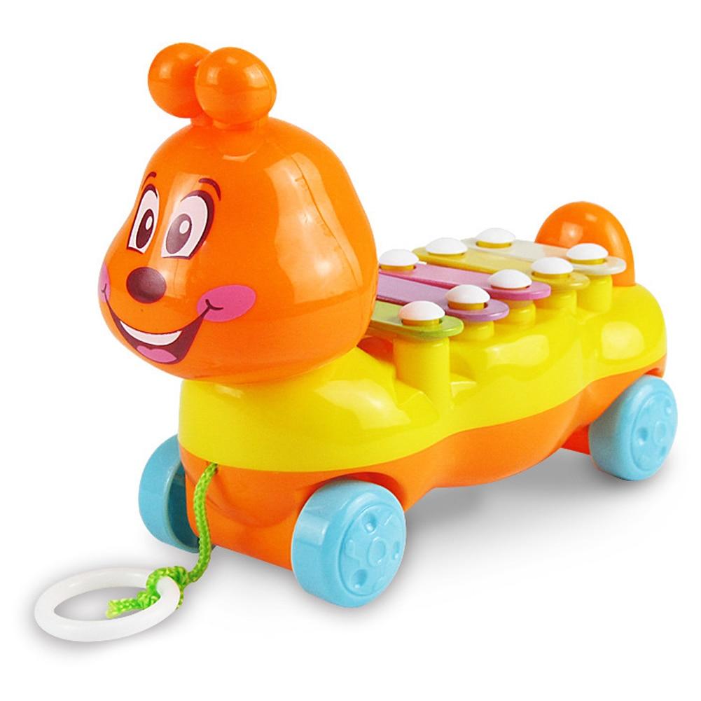 Baby Cartoon Caterpillar Glockenspiel Kids 5 Scales Music Drawable Musical Instrument Toy Color Random
