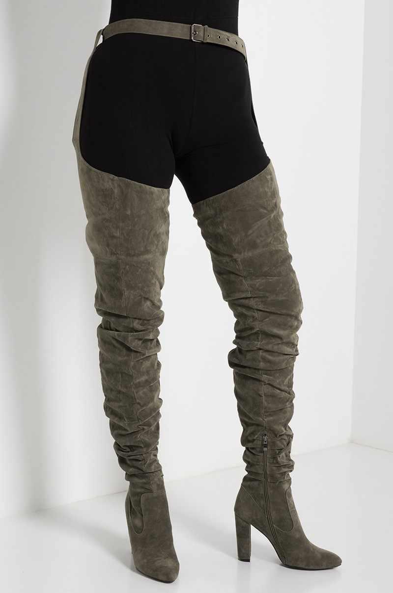 SARAIRIS Rihanna สไตล์เข่ารองเท้าสำหรับรองเท้าผู้หญิง Pointed Toe จีบรองเท้าส้นสูงยาวต้นขาสูงรองเท้าสีดำเซ็กซี่