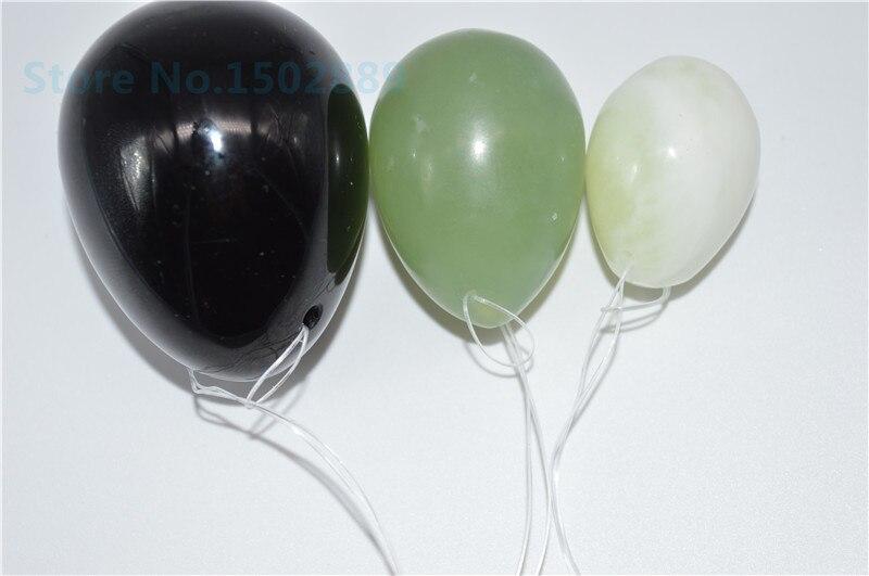 Free shipping 100% mixed color natural Set/3 jade eggs for kegel kegel weight yoni egg ben wa ball pelvic floor muscle exercise