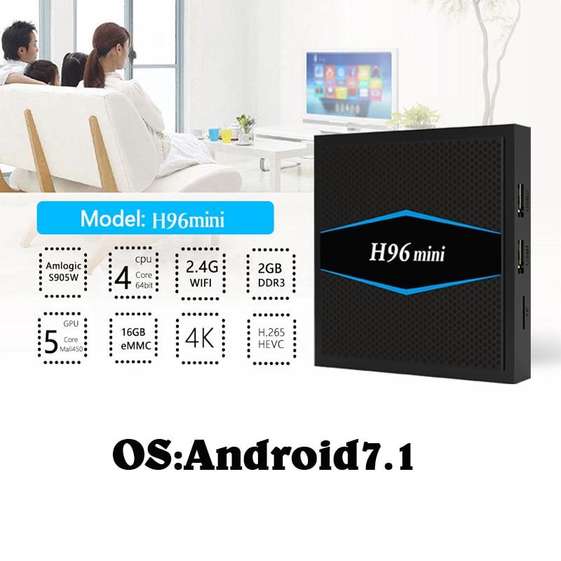 2GB 16GB 4K Android 7.1 TV Box H96mini Amlogic S905w Quad Core 2.4G 5G Wifi UHD Media Player PK X96 X96mini htv Set-top Box 5 wechip v8 plus google voice control tv box 4k tv box android 7 1 amlogic s905w set top box 4k media player pk tx3mini x96mini