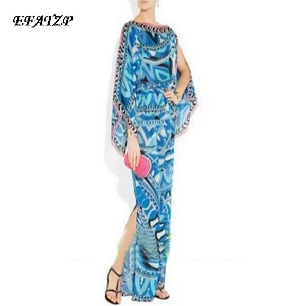 Europe High Street Fashion Women s Blue Geometric Print Off Shoulder Stretch Jersey Silk Maxi Full