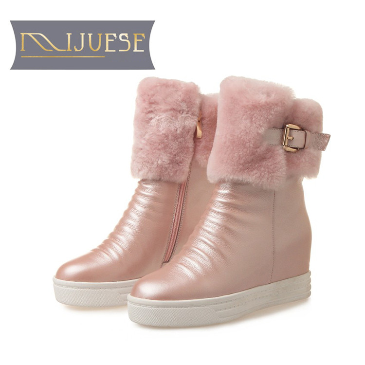 цена на MLJUESE 2019 women Mid calf boots cow leather wool warm buckle winter platform wedges short plush women snow boots casual boots